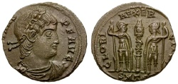 Ancient Coins - Constans as Augustus Æ3 / Soldiers and standards