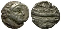 Ancient Coins - Phoenicia. Arados AR Obol / Marine Deity / Galley