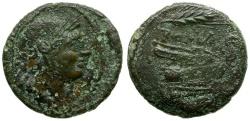 Ancient Coins - 214-212 BC - Roman Republic. Anonymous. Sicilian Mint Æ Uncia / Grain Ear