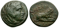 Ancient Coins - Kings of Macedon. Kassander Æ18 / Lion