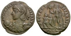 Ancient Coins - Constantius II (AD 337-361) Æ Half Centenionalis / Emperor with Captives