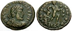 Ancient Coins - aVF/aVF Gratian Æ3 / Emperor and Captive