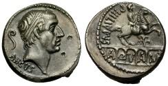 Ancient Coins - 56 BC - Roman Republic. Lucius Marcius Philippus AR Denarius / Equestrian Statue