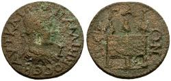 Ancient Coins - gF+/gF+ Gallienus, Pamphylia Perge Æ30 / Chest with Purses