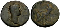 Ancient Coins - Hadrian Æ Dupondius / Salus Seated