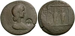 Ancient Coins - Tranquillina. Pamphylia. Aspendos Æ31 / Two Cultus Statues in Shrine