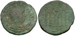 Ancient Coins - Valerian I. Cilicia. Anemurium Æ27 / Tyche in Temple