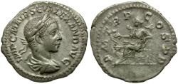 Ancient Coins - Severus Alexander (AD 222-235) AR Denarius / Salus seated