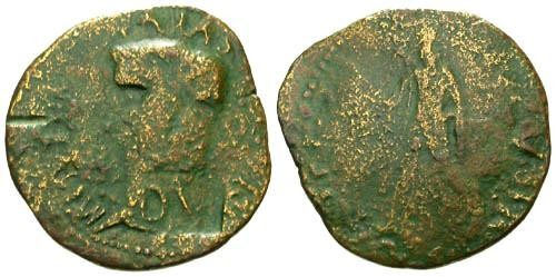 Ancient Coins - F/VG Claudius Sestertius / Spes and DV Counterstamp