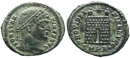 Ancient Coins - EF/EF Constantine the Great Silvered Campgate