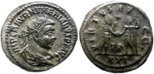 Ancient Coins - EF/aVF Numerian AR Antoninianus / Jupiter and Numerian