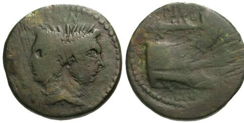 Ancient Coins - F/F 43-36 BC Roman Republic AS / Sextus Pompey