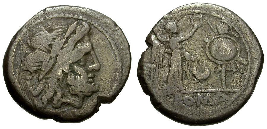 Ancient Coins - 207 BC - Roman Republic.  Anonymous Issue AR Victoriatus
