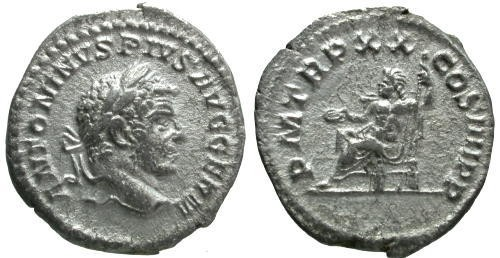 Ancient Coins - VF/VF Caracalla Denarius / Jupiter Seated