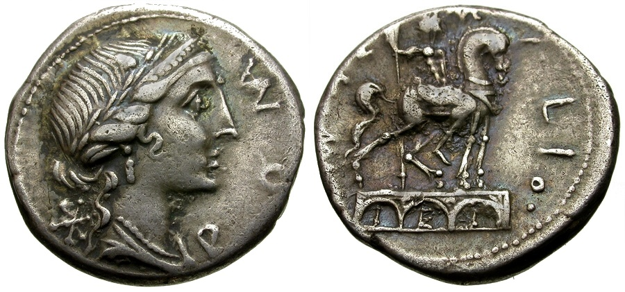 Ancient Coins - 114-113 BC - Roman Republic  Man. Aemilius Lepidus AR Denarius / Equestrian Statue