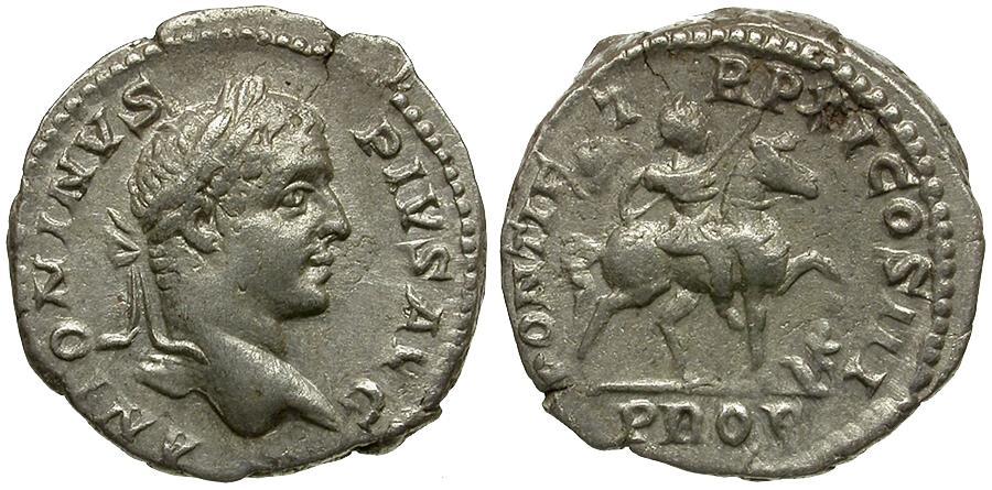 Ancient Coins - Caracalla (AD 198-217) AR Denarius / Emperor on Horseback