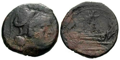 Ancient Coins - aF/aF Republic Triens 211 BC / Victory Flying