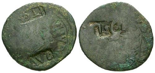 Ancient Coins - Augustus AE As with Three Counterstamps / AVG TICA