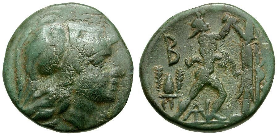Ancient Coins - Kings of Macedon.  Antigonas Gonatas Æ18 / Pan Erecting Trophy