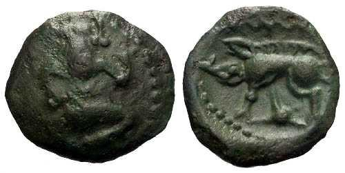 Ancient Coins - VF/VF Rare Bellovaci Bronze Class IIIc