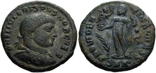 Ancient Coins - VF+ Crispus reduced follis, Jupiter holding victory and leaning on scepter