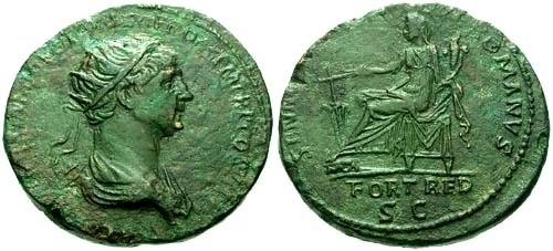 Ancient Coins - aVF/aVF Trajan AE Dupondius / Fortuna