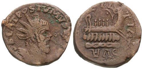 Ancient Coins - gF+/gF+ Postumus Barbarous AE Dupondius / Galley