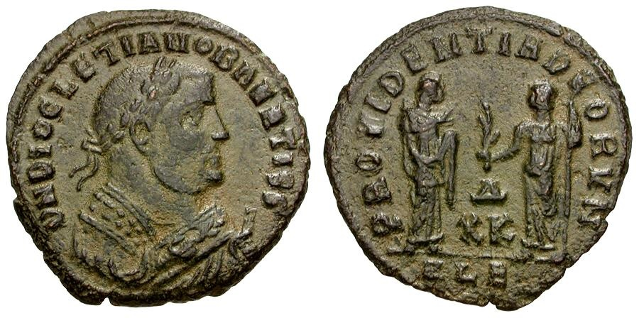 Ancient Coins - Diocletian as Senior Augustus. Post-Abdication Æ Follis / Providentia and Quies