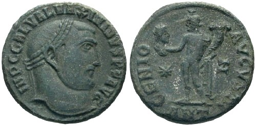 Ancient Coins - VF/VF Maximinus II Follis / Genius with Head of Sarapis