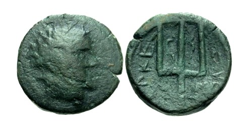 Ancient Coins - gF/gF Macedon Time of Philip V and Perseus AE18 / Trident