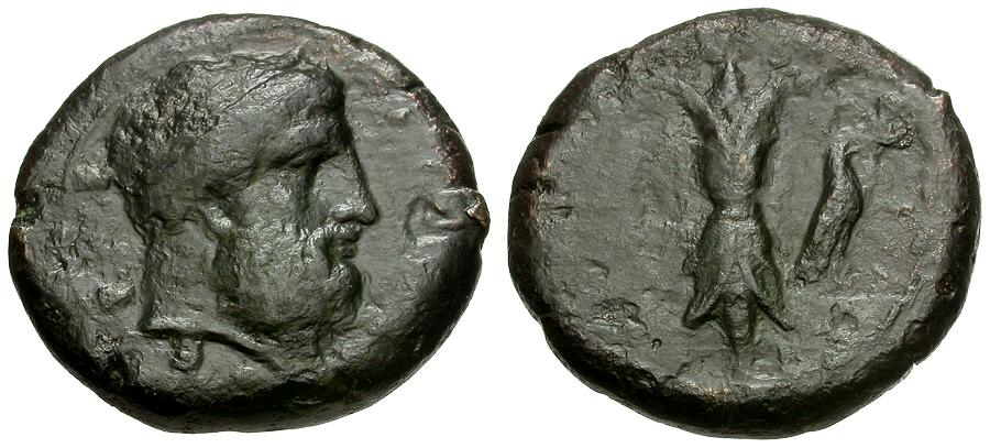 Ancient Coins - Sicily.  Syracuse.  Third Republic Æ Hemilitron / Zeus / Thunderbolt and Eagle