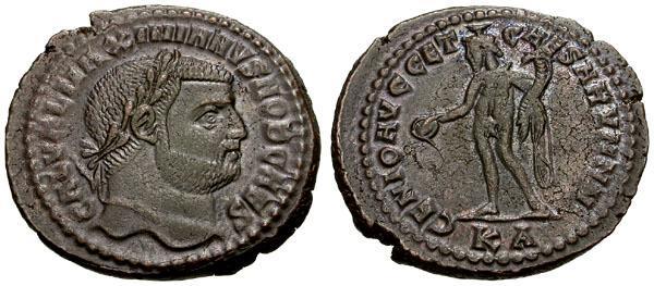 Ancient Coins - EF/VF Galerius as Caesar Æ Follis / Genius