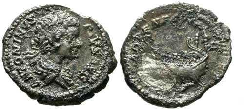 Ancient Coins - F/F Caracalla Denarius / Galley / Rough