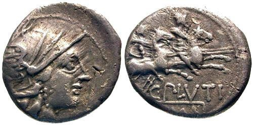 Ancient Coins - gF/gF Plutia 1 Roman Republic Denarius / Dioscuri