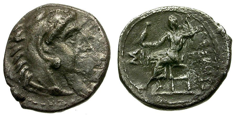 Ancient Coins - Kings of Macedon. Alexander III the Great AR Obol / Zeus Enthroned