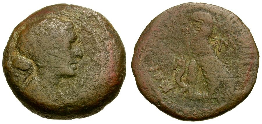 Ancient Coins - Ptolemaic Rulers of Egypt. Cleopatra VII Thea Æ 40 Drachmae / Portrait of THE Cleopatra
