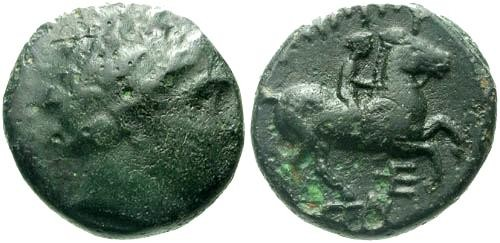 Ancient Coins - gF/gF Philip II Bronze / Youth on Horse