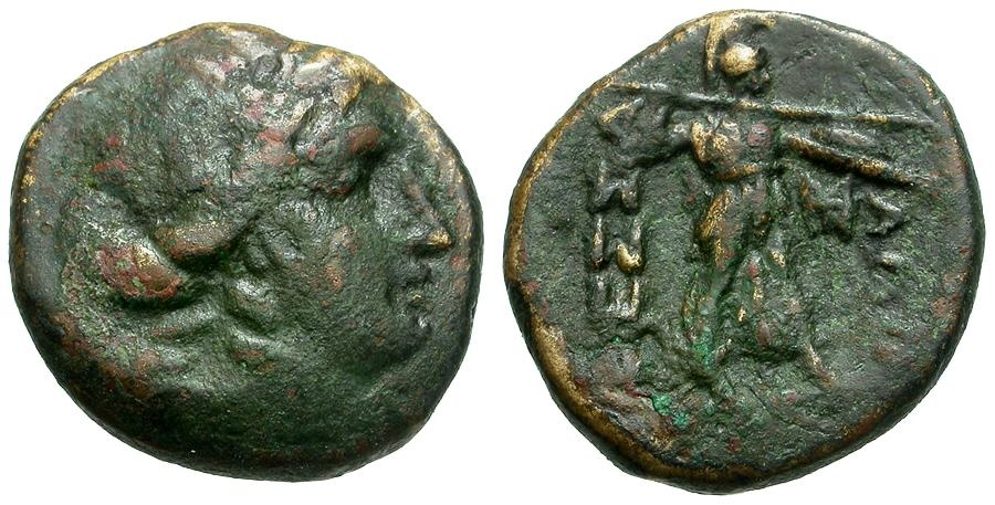 Ancient Coins - Thessaly.  Thessalian League Æ19 / Apollo and Athena