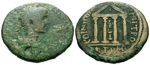 Ancient Coins - F/F+ Caracalla AE31 Neocaesaria Pontus / Temple