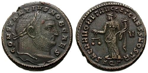 Ancient Coins - aEF/EF Constantius I as Caesar Follis / Moneta