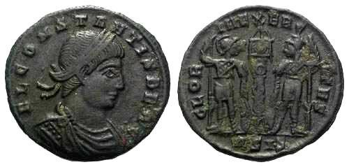Ancient Coins - VF+ Constans AE3 / Two Soldiers