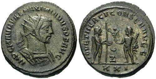 Ancient Coins - VF/VF Maximianus Antoninianus / Jupiter and Hercules