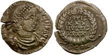 Ancient Coins - Constantius II AR Siliqua / Wreath