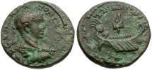Ancient Coins - Elagabalus. Phoenicia. Tyre Æ18 / Galley