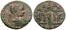 Ancient Coins - Elagabalus, Phoenicia, Berytos  Æ26 / Marsyas in Gateway