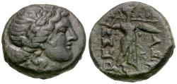 Ancient Coins - Thessaly. Thessalian League Æ19 / Athena