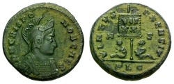 Ancient Coins - EF/EF Crispus Caesar Æ3 / Vexillum and captives