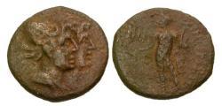 Ancient Coins - VF/gF Bruttium Rhegion Æ Tetras / Jugate Dioscuri