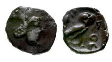 Ancient Coins - aVF/aVF Persian Period, Philistia AR Ma'ah Obol / Unusual canine helmet