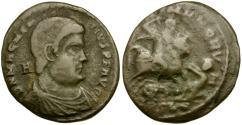 Ancient Coins - Magnentius (AD 306-312). Imitative Æ Half-Centenionalis / Emperor riding down captive